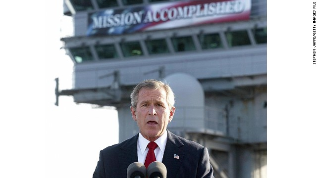 "George W. Bush later came to regret the ""Mission Accomplished"" banner."