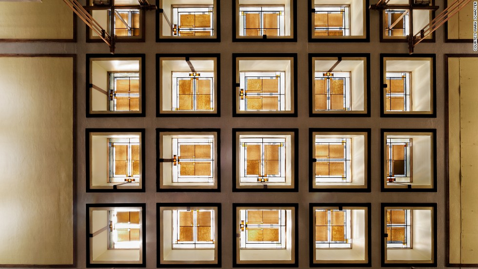 Master architect Frank Lloyd Wright designed Unity Temple, a church in Oak Park, Illinois. He was responsible not only for the building, but for the furniture and the stained glass, seen here in a view of the skylights in the main sanctuary.