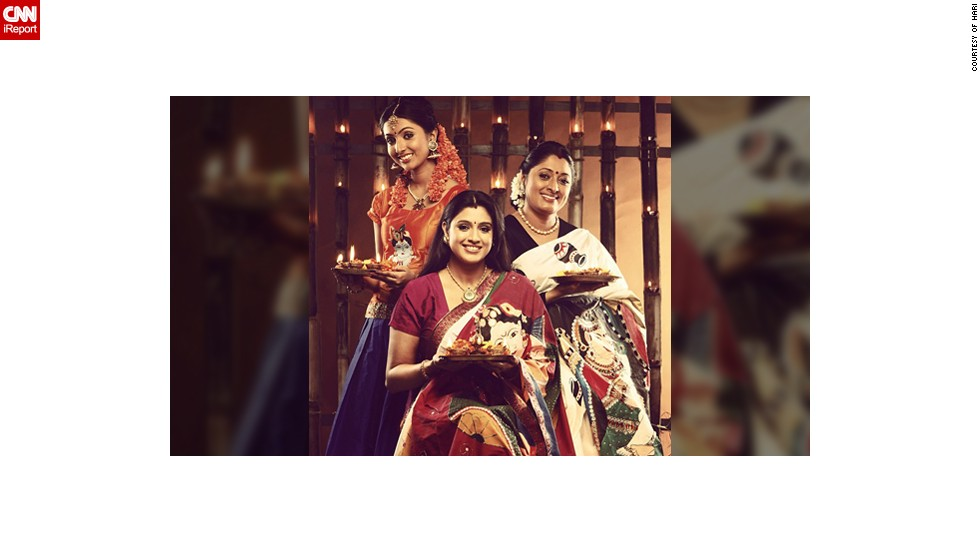 "This Diwali family portrait features Uttharaa Unni (left), her sister Samyuktha Varma and their mother Urmila Unni. ""The three of us <a href=""http://instagram.com/uttharaaunni"" target=""_blank"">work in Indian films as actors</a>. Celebrations have always been a part of our day to day life and Diwali has been important to us since our childhood,"" said the 21-year-old Bollywood actress."