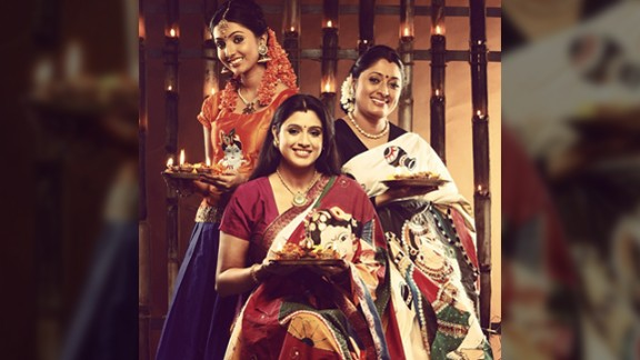 """This Diwali family portrait features Uttharaa Unni (left), her sister Samyuktha Varma and their mother Urmila Unni. """"The three of us work in Indian films as actors. Celebrations have always been a part of our day to day life and Diwali has been important to us since our childhood,"""" said the 21-year-old Bollywood actress."""