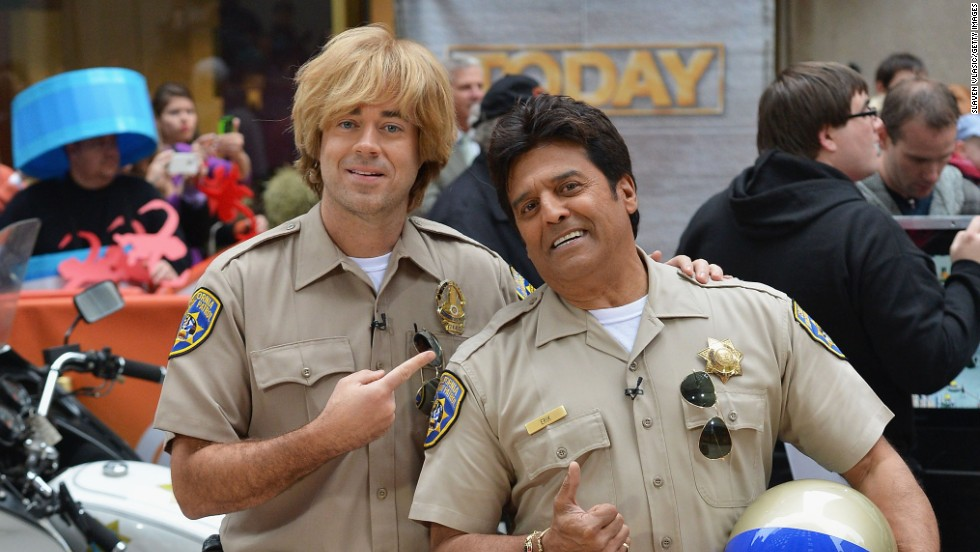 Carson Daly (left)  and Erik Estrada, dressed as characters from CHiPs, attend NBC's 'Today' Halloween 2013 in New York City on October 31.