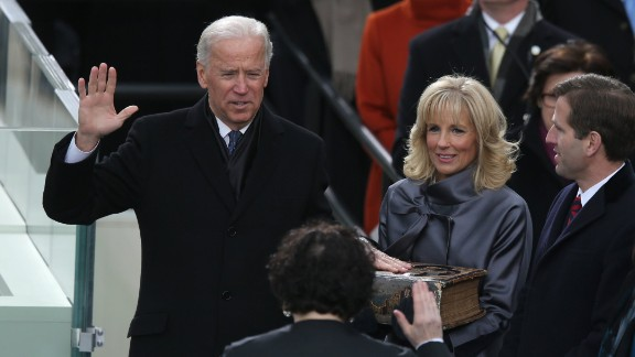 Biden is sworn in for his second term as vice president by Supreme Court Justice Sonia Sotomayor, with his wife, Jill, and son, Beau, by his side, on January 21, 2013, in Washington.