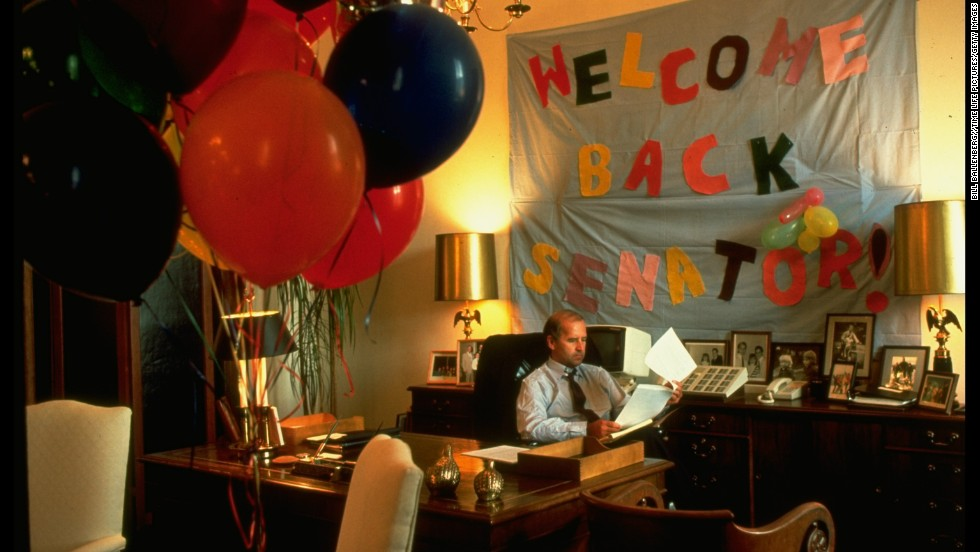 Biden is welcomed back after undergoing surgery for an aneurysm in 1988.