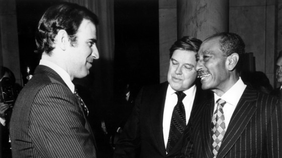 While on the Senate Judiciary Committee, Biden meets with Sen. Frank Church, center, and Egyptian President Anwar Sadat after the signing of the Egyptian-Israeli Peace Treaty in 1979.