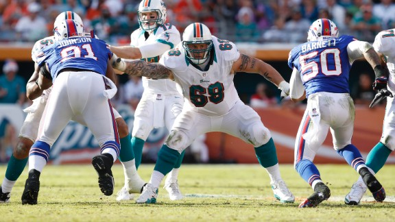Richie Incognito (No. 68) has been suspended by the Miami Dolphins during a probe of bullying allegations.