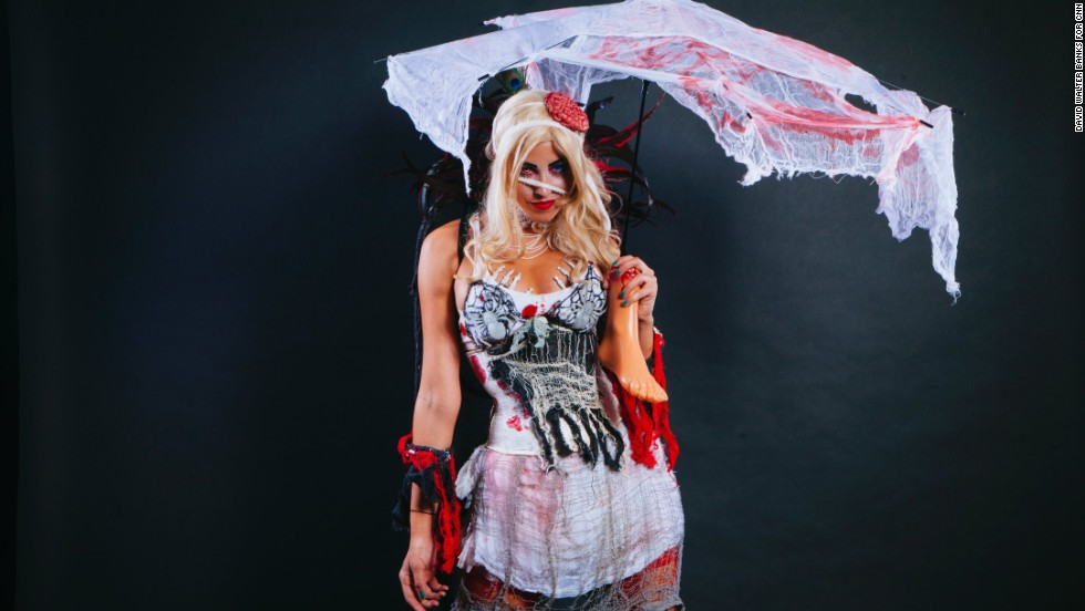 Blaze Farringer, a fetish performer from Miami, Florida, and a performer at Zombie Bash, poses in zombie dress.