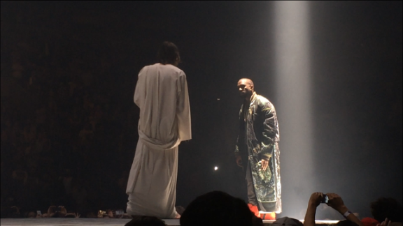 "October 2013: It wouldn't be a 'Ye performance if it didn't have a few special guests. West made sure his ""Yeezus"" tour would be a topic of conversation when he had a look-alike Jesus appear on stage with him at Seattle's Key Arena on October 19."
