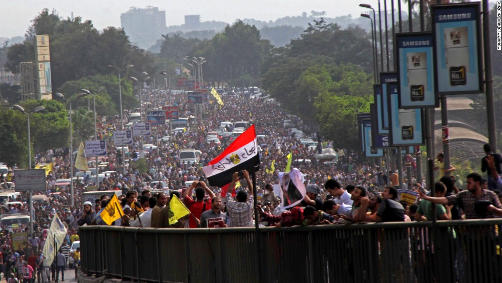 Supporters of Morsy protest on a bridge in Cairo.