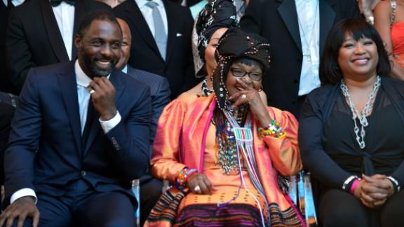 Elba with Winnie Madikizela-Mandela (center) and her daughter Zindzi at the movie's premiere.