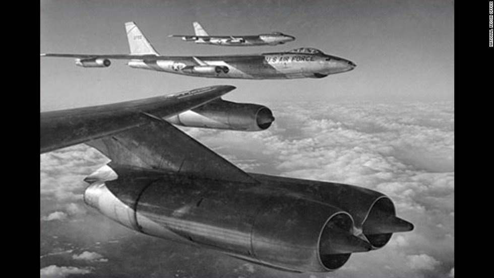 "In the 1950s, aircraft like these RB-47s conducted surveillance missions over the Soviet Union and other ""denied areas,"" but they became increasingly vulnerable to enemy defenses."