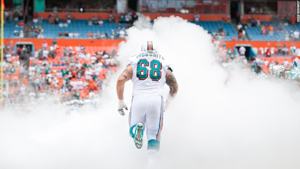 Incognito is introduced during a Dolphins game in September 2012.