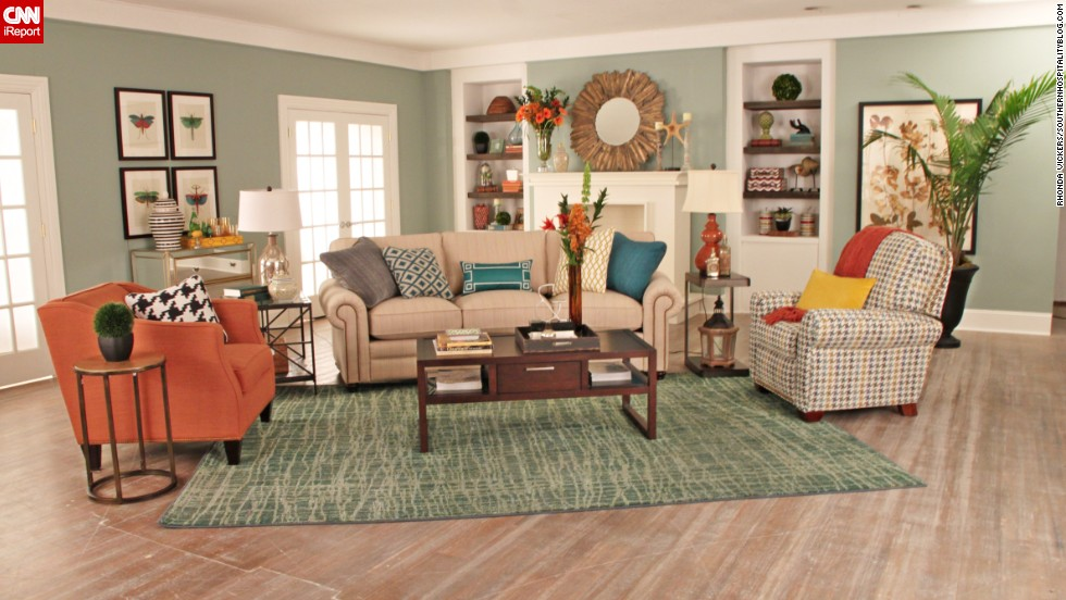 "Lifestyle <a href=""http://southernhospitalityblog.com/"" target=""_blank"">blogger Rhoda Vickers </a>of Atlanta used a spectrum of orange to create this living space for a design contest: ""I wanted to design a fun and fresh room with lots of color."""