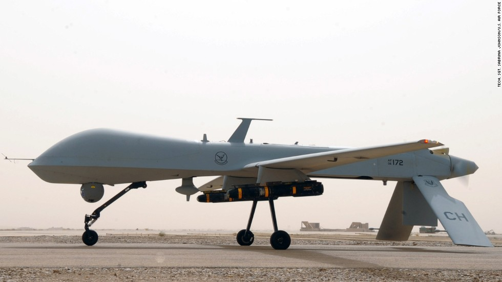 The MQ-1 Predator is an unmanned aircraft, or drone, that has conducted reconnaissance and surveillance missions.