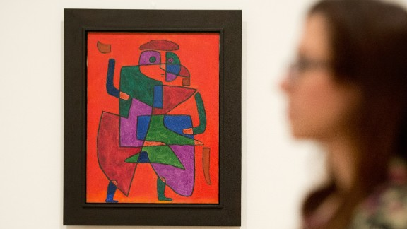 """""""The Man of the Future"""" by Swiss artist Paul Klee at Tate Modern in London, on October 14, 2013. As a member of the pioneering Bauhaus movement, Klee's work was pilloried by Hitler and the Nazis, and he lost his job as an art teacher in Germany."""