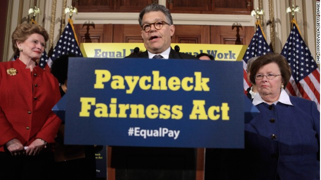 Sen. Al Franken discusses the Paycheck Fairness Act accompanied by Sen. Debbie Stabenow, left, and Sen. Barbara Mikulski.