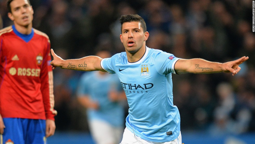 Sergio Aguero was on target early for Manchester City in their rout of CSKA Moscow.