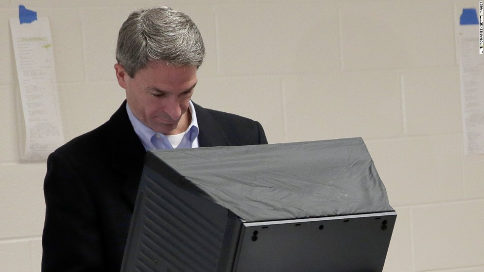 Cuccinelli votes at Brentsville District High School in Nokesville, Virginia.