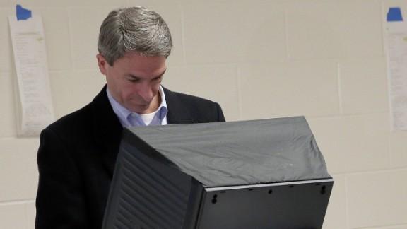 Cuccinelli votes at Brentsville District High School in Nokesville, Virginia.
