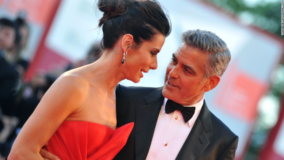 "The 49-year-old plays the lead role of astronaut Dr Ryan Stone, alongside co-star George Clooney (pictured at the Venice Film Festival earlier this year.) ""There is a female and male in the film. The point of view is everyone's point of view,"" said Bullock."