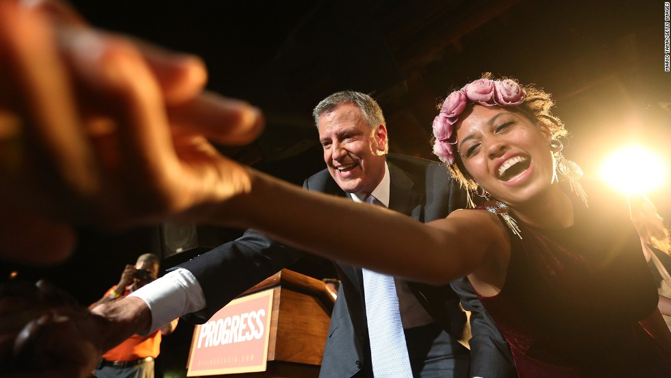 De Blasio and Chiara greet supporters at his primary night party in Brooklyn on September 11. He beat former U.S. House Rep. Anthony Weiner, whose campaign imploded, and also Bloomberg favorite Christine Quinn. De Blasio got more than 40% of the vote, thus avoiding a runoff.