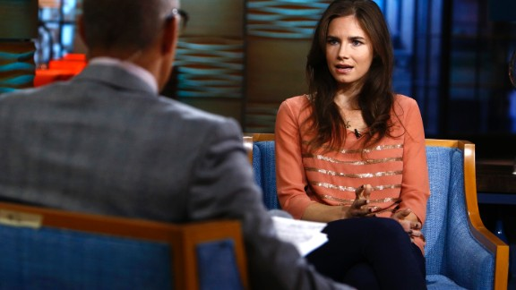 "Amanda Knox appears on NBC's ""Today"" show. Knox spent four years in jail because of murder charges in the death of her roommate Meredith Kercher while studying abroad in Perugia, Italy."