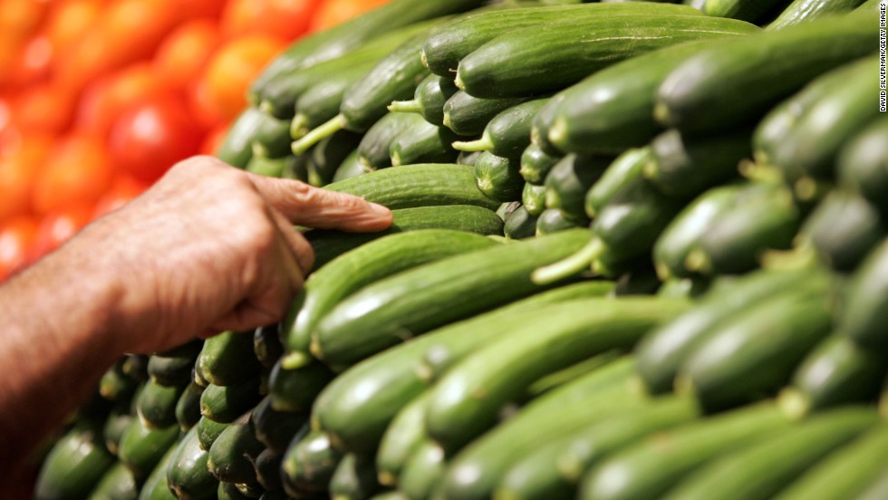 "<strong>Cucumber</strong><br />Water content: 96.7%<br /><br />This summer veggie -- which has the <a href=""http://ndb.nal.usda.gov/ndb/foods/show/2945"" target=""_blank"">highest water content </a>of any solid food -- is perfect in salads or sliced up and served with some hummus, says Keri Gans, author of ""The Small Change Diet: 10 Steps to a Thinner and Healthier You"" and a consultant to Mindbloom, a technology company that makes life-improvement apps.<br /><br />Want to pump up cucumber's hydrating power even more? Try blending it with nonfat yogurt, mint and ice cubes to make cucumber soup. <br /><br /><a href=""http://www.health.com/health/gallery/0,,20660118,00.html"" target=""_blank"">Health.com: The best foods for every vitamin and mineral</a><br />"