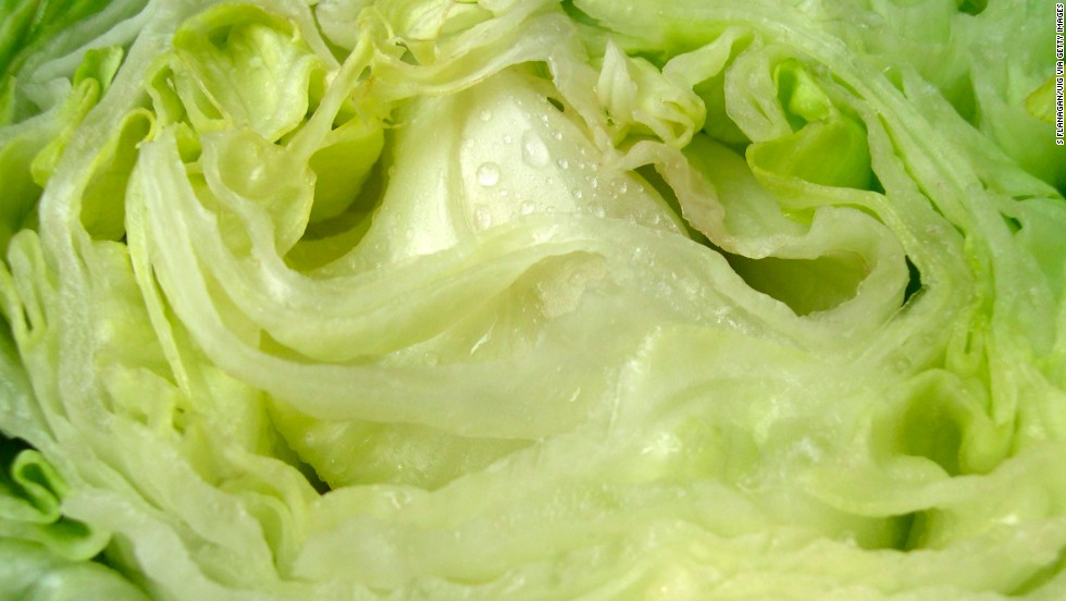 "<strong>Iceberg lettuce</strong><br />Water content: 95.6%<br /><br />Iceberg lettuce tends to get a bad rap, nutrition-wise. Health experts often recommend shunning it in favor of darker greens like spinach or romaine lettuce, which contain higher amounts of fiber and nutrients such as folate and vitamin K.<br />It's a different story when it comes to water content, though: Crispy iceberg has the highest of any lettuce, followed by butterhead, green leaf and romaine varieties.<br />So when the temperature rises, pile iceberg onto sandwiches or use it as a bed for a <a href=""http://www.health.com/health/gallery/0,,20401749,00.html"" target=""_blank"">healthy chicken salad</a>. Even better: Ditch the tortillas and hamburger buns and use iceberg leaves as a wrap for tacos and burgers."