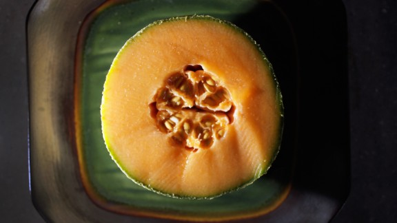 "Cantaloupe Water content: 90.2%  This succulent melon provides a big nutritional payoff for very few calories. One 6-ounce serving -- about one-quarter of a melon -- contains just 50 calories but delivers a full 100% of your recommended daily intake of vitamin A.   ""I love cantaloupe as a dessert,"" Gans says. ""If you've got a sweet tooth, it will definitely satisfy."" Tired of plain old raw fruit? Blend cantaloupe with yogurt and freeze it into sherbet, or puree it with orange juice and mint to make a refreshing soup."