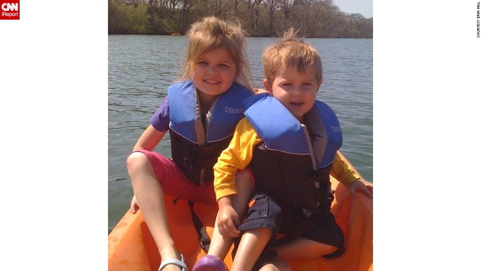 "This photo was taken while canoeing with the children on Lake Austin in 2010, shortly after her husband moved out. ""I know that without a doubt my house is a happier place to be without the tension between my ex-husband and me. I didn't even realize the effect it had on all of us until it was gone,"" Hill says."