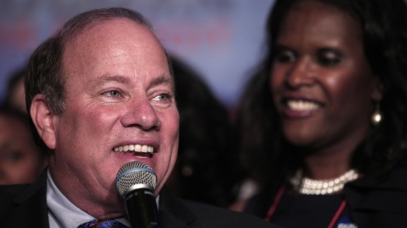 Detroit Mayor-elect Mike Duggan celebrates his mayoral victory Tuesday night.
