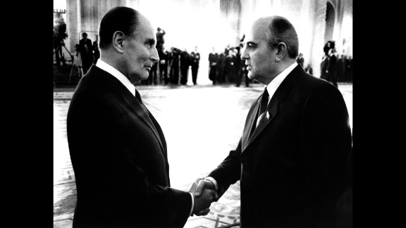 French President Francois Mitterrand with Gorbachev in Moscow in 1985.