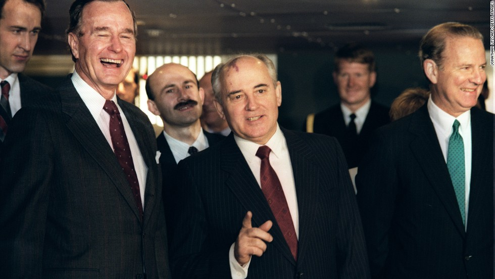 President George H. W. Bush with Gorbachev in Valletta, Malta, during a U.S.-Soviet summit in 1989.