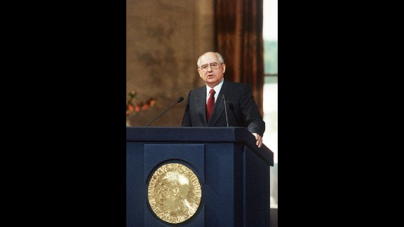 Gorbachev accepts the Nobel Peace Prize in Oslo, Norway, in 1991. Gorbachev was awarded the prize in 1990.