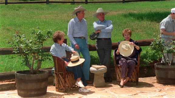President Reagan and his wife, Nancy, chat with Gorbachev and his wife, Raisa, in the front yard of the Reagan's ranch in Santa Barbara, California, in 1992.