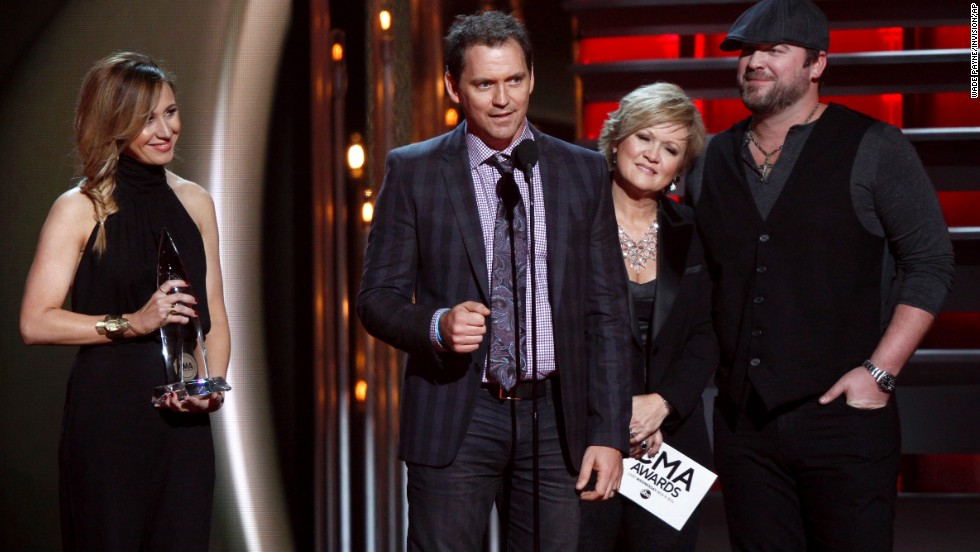 "<strong>Song of the year:</strong> ""I Drive Your Truck,"" performed by Lee Brice, right, and written by Jessi Alexander, Jimmy Yeary and Connie Harrington"