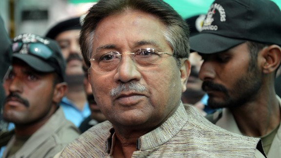 Former Pakistani President Pervez Musharraf arrives at court in Islamabad in April 2013.