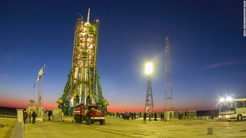 Earlier Thursday, the Soyuz-FG rocket and Soyuz-TMA capsule sat in wait at the Baikonur Cosmodrome ahead of the torch's journey to the International Space Station (ISS).