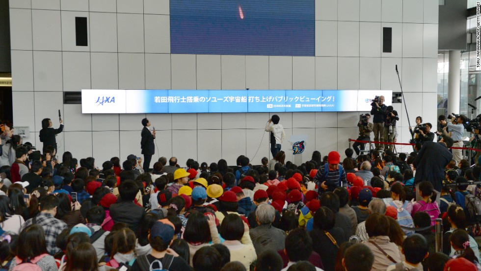 A crowd of hundreds of people watched the launch in Tokyo, Japan. The country's astronaut Koichi Wakata became the first Japanese commander of the ISS on this trip.