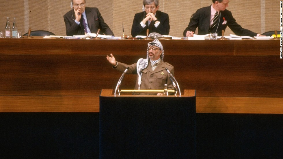 In a speech before the United Nations on December 13, 1988, Arafat renounces terrorism and recognizes Israel's right to exist while declaring a Palestinian state.