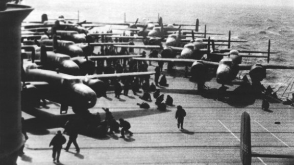 B-25 bombers sit on the deck of the USS Hornet in the Pacific Ocean in 1942. The Hornet, one of three carriers in the Yorktown class, was the ship that launched the bombers flown by Air Force Lt. Col. James Doolittle and his pilots during an air raid in Tokyo four months after the attack on Pearl Harbor. It also was involved in the Battle of Midway.