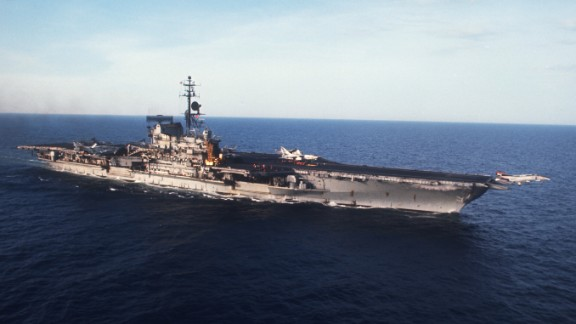 The USS Midway, namesake of the Midway class of aircraft carriers, floats off the coast of North Vietnam in 1972. It was named after the Battle of Midway, when U.S. forces held back a Japanese attempt to take the Pacific atoll in 1942.