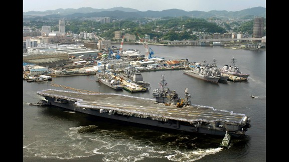The Kitty Hawk class was named for the USS Kitty Hawk, seen here departing Yokosuka, Japan, in 2008. At that time, the Kitty Hawk was the oldest carrier in the U.S. Navy and the only conventional-power aircraft carrier still in commission. It was decommissioned in 2009.