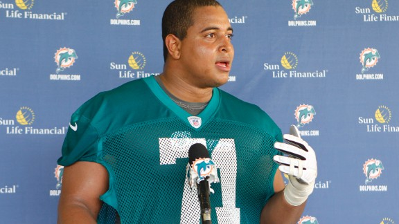 DAVIE, FL - MAY 4: Jonathan Martin #71 of the Miami Dolphins talks ot the media after the rookie minicamp on May 4, 2012 at the Miami Dolphins training facility in Davie, Florida. (Photo by Joel Auerbach/Getty Images)