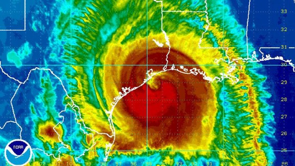This image provided by NOAA taken at 11:45 p.m. EDT Friday Sept. 12, 2008 shows Hurricane Ike approaching the coast of Texas. At 11 p.m. EDT, Ike was centered about 55 miles southeast of Galveston, moving at 12 mph. It was close to a Category 3 storm with winds of 110 mph, and was expected to strengthen by the time the eye hit land. Because of the hurricane
