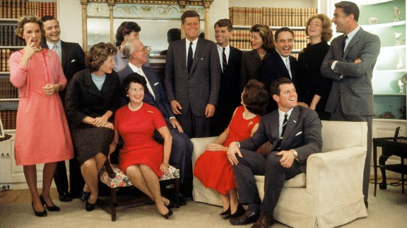 The night after John F. Kennedy won the 1960 Presidential election this family portrait was made in Hyannis Port, Massachusetts, on November 9, 1960. Sitting, from left, Eunice Shriver (on chair arm), Rose Kennedy, Joseph Kennedy, (on chair arm), Jacqueline Kennedy, head turned away from camera, and Ted Kennedy. Back row, from left, Ethel Kennedy, Stephen Smith, Jean Smith, American President John F. Kennedy, Robert F. Kennedy, Pat Lawford, Sargent Shriver, Joan Kennedy, and Peter Lawford.