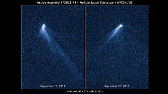 The Hubble Space Telescope snapped a series of images on September 10, 2013, revealing a never-before-seen sight: An asteroid that appeared to have six comet-like tails.