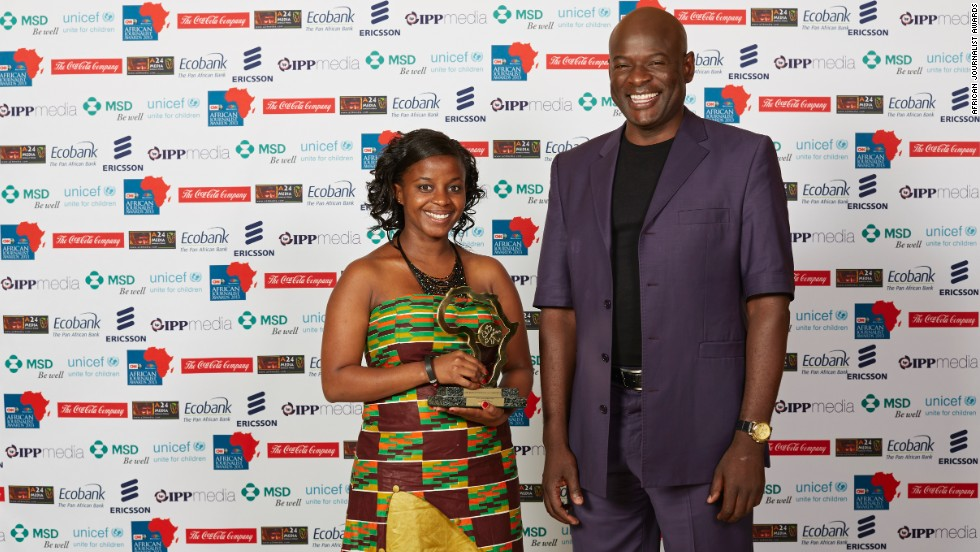 "Tom Mboyo, CNN MultiChoice African Journalist 2012 (right) presented Florence Dallu (left) with the Radio General News Award for her piece ""Children in survival sex,"" where she uncovered the shocking reality of how young children are exploited through sex work in Korogocho slums."