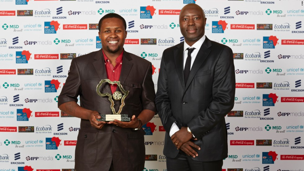 Thanduxolo Jika (left) and a team of journalists from South Africa won the Digital Platform Award for their informative and interactive website Faces of Marikana.