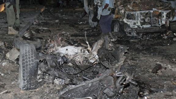 A car bomb exploded outside a Mogadishu hotel on November 8, 2013.