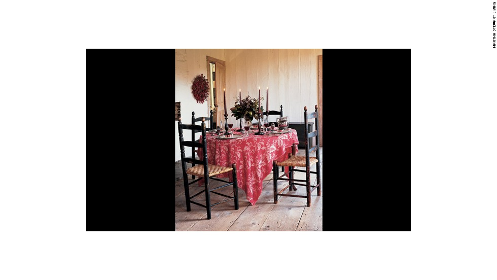 This Turkey red damask tablecloth, instantly adds warmth and a sense of refinement.<br />